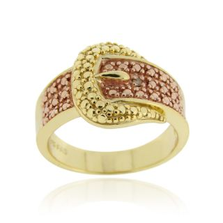 DB Designs 18k Two tone Gold over Silver Champagne Diamond Buckle Ring