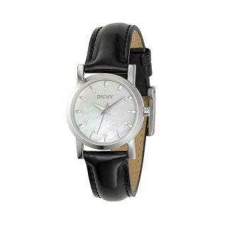 DKNY Womens Black Leather Strap Watch