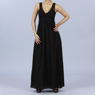 Wishes Womens Juniors Black Battenburg Lace Maxi Dress