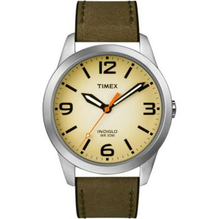 Timex Mens Weekender Casual Olive Leather Strap Watch