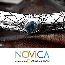Mens Sterling Silver Meditate Blue Topaz Bracelet (Indonesia