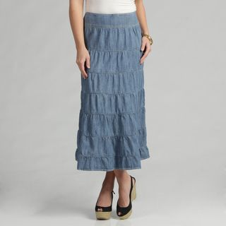 Live A Little Womens Light Denim Tiered Maxi Skirt