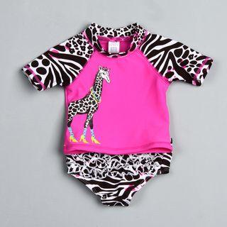 Carters Infant Girls Pink Giraffe and Zebra Swimsuit