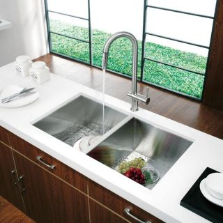 Vigo Undermount 32 inch Stainless Steel Kitchen Sink and Faucet