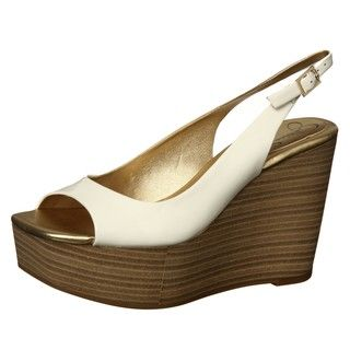 Jessica Simpson Womens Ammon White Slingback Wedge Sandals