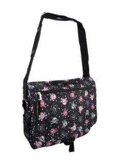 Black, Pink & White Skull & Crossbones Messenger Bag
