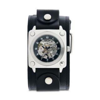 Nemesis Mens Black SQ Mechanical Wide Leather Band Watch