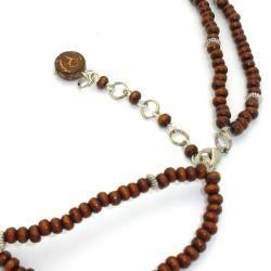 Silver Miao Koi Fish Wood Bead Necklace (China)