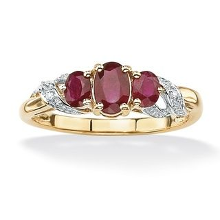 Angelina DAndrea 10k Gold Ruby and Diamond Accent Ring