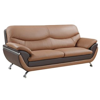 Two tone Light Brown/ Dark Brown Bonded Leather Sofa