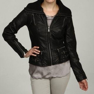 MICHAEL Michael Kors Womens Black Leather Knit Collar Jacket