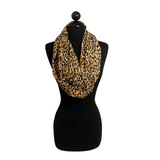 Peach Couture Womans Cheetah Print Infinity Loop Scarf