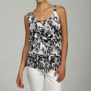 Sioni Womens Wild Journey Printed Asymmetrical Top