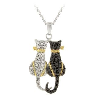 DB Designs Tri color Black Diamond Accent Two Cats Necklace