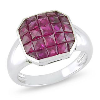 18k White Gold Square cut Ruby Ring