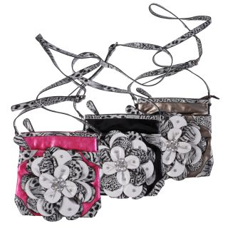 Journee Collection Womens Flower Accent Animal Print Cross body Bag