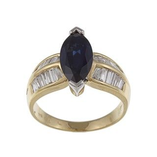 18k Yellow Gold Blue Sapphire and 7/8ct TDW Diamond Ring (H I, SI1 SI2