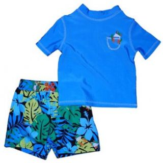Carters Boys 12 24 Months Aqua Frog Rash Guard Swim Set