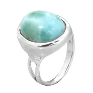 De Buman Sterling Silver Larimar Gemstone Ring