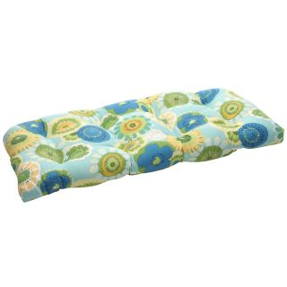 Blue/ Green Floral Outdoor Wicker Loveseat Cushion