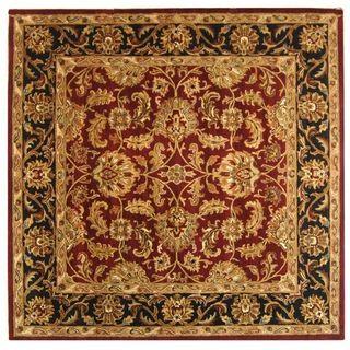 Handmade Heritage Kashan Burgundy/ Black Wool Rug (8 Square