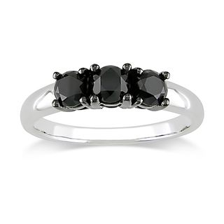 Miadora 10k White Gold 1ct TDW Black Diamond 3 stone Ring