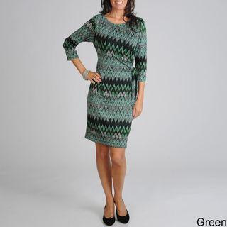 Sharagano Womens Chevron Jersey Knit Dress