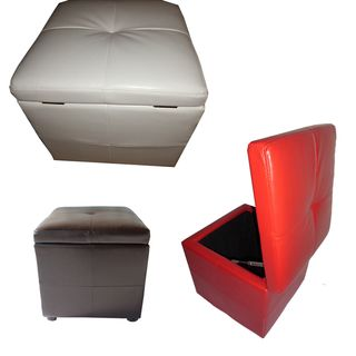 Classic Synthetic Leather Storage Cube with Hinge