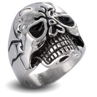 Stainless Steel Mens Large Skull Ring