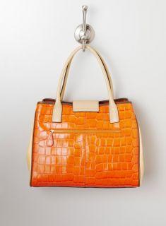 Charles Jourdan Angela satchel w croc & clr bl