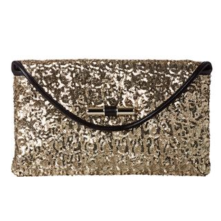 Jimmy Choo Canisa Large Gold Glitter Envelope Clutch