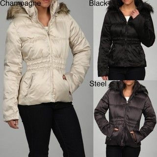 Steve Madden Womens Faux fur Hooded Puffer Coat