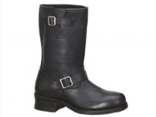 Black Leather. Motorcycle, Work/Safety Boots. Wide Sizes. 1440 Shoes