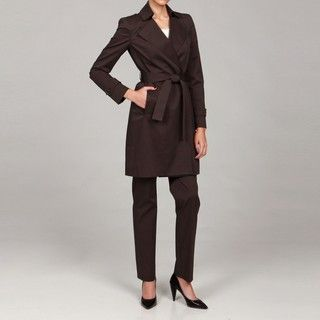 Anne Klein Womens Double breasted Belt Pant Suit