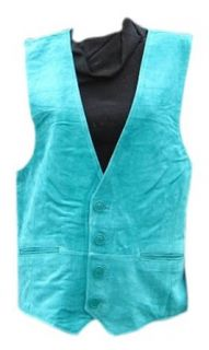 Bergama Suede Leather Vest   Teal Blue Clothing
