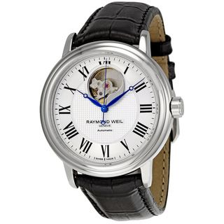 Raymond Weil Mens Maestro Black Leather Watch