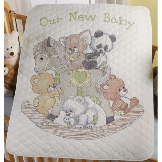 Rocking Horse Bears Crib Cover Stamped Cross Stitch Kit 34X43 Today