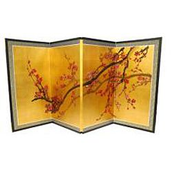 Silk and Wood 36 inch Plum Tree on Gold Leaf Wall Hanging (China
