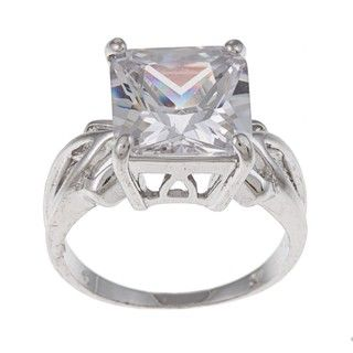 White Gold Overlay Cushion cut Clear Cubic Zirconia Cocktail Ring