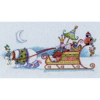 Snow Bear And Sleigh Counted Cross Stitch Kit 14x8 14 count Today $