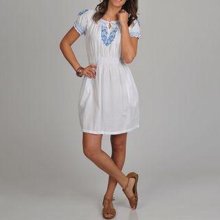 La Cera Womens Embroidered Chemise Dress