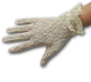 Ladies Wrist Length Stretch Lace Gloves with Ruffle