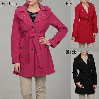 London Fog Womens Belted Hooded Coat