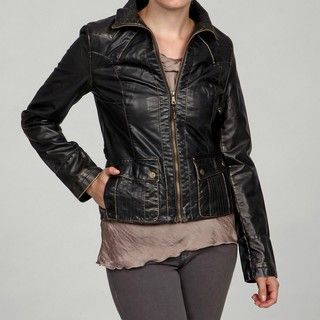 Big Chill Womens Faux Leather Flap pocket Jacket