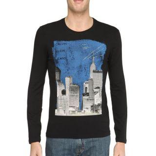 CALVIN KLEIN JEANS T Shirt Homme Noir et bleu nuit Noir et bleu nuit