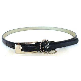 Womens Navy Blue Leather Skinny Belt
