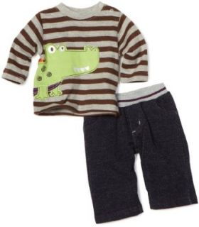 Mini Bean Baby Boys Newborn Alligator Pant Set, Gray, 3 6