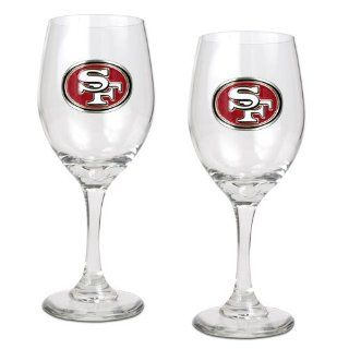 NFL San Francisco 49ers 14 Ounce Wine Glass (Set of Two