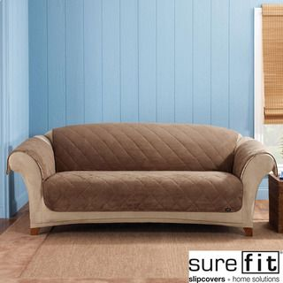 Sure Fit Cocoa Reversible Quilted/Sherpa Sofa Cover