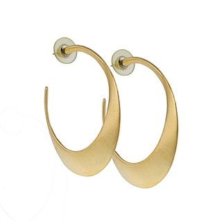 Clara Studio Gold Overlay Sculpted Hoop Earrings